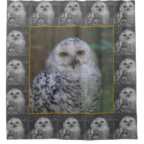 Snowy Owl R1, Schnee-Eule Shower Curtain