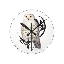 Snowy Owl Round Clock