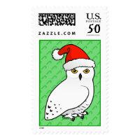 Snowy Owl Santa Large Stamp 2.5