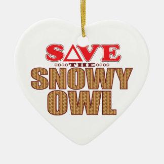 Snowy Owl Save Ceramic Ornament