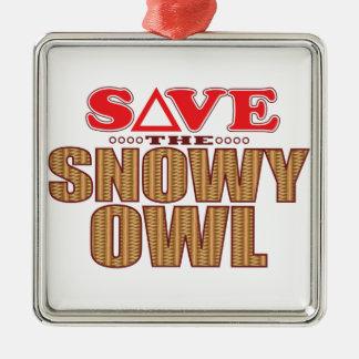 Snowy Owl Save Metal Ornament