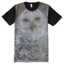 Snowy Owl, Schnee-Eule, All-Over Printed Panel All-Over-Print Shirt