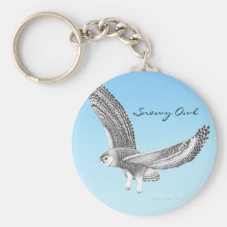 Snowy Owl Soaring Keychain