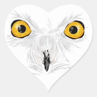 Snowy owl staring heart sticker