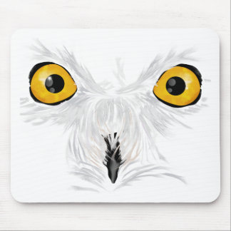 Snowy owl staring mouse pad