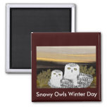 Snowy Owl Sunrise Refrigerator Magnet
