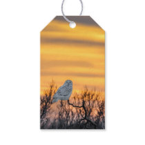 Snowy Owl Sunset Gift Tag