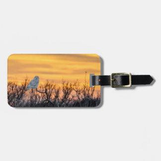 Snowy Owl Sunset Luggage Tag