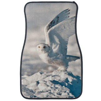 Snowy Owl taking off from snow Car Mat