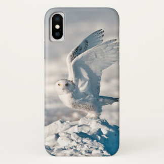Snowy Owl taking off from snow iPhone X Case