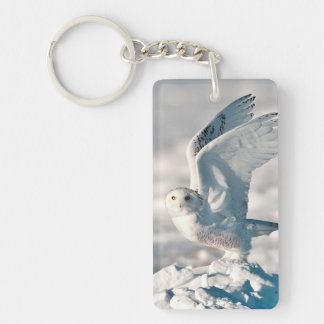 Snowy Owl taking off from snow Keychain