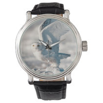 Snowy Owl taking off from snow Wristwatch