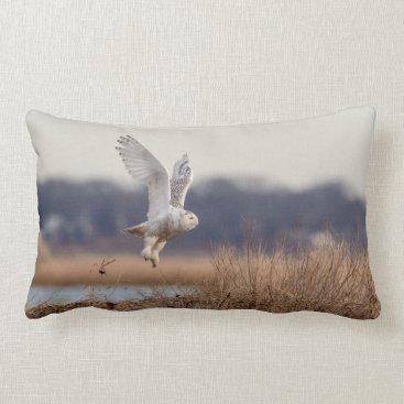 Snowy owl taking off lumbar pillow