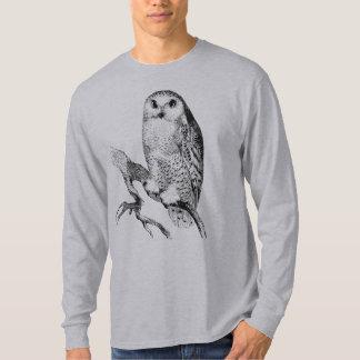 Snowy Owl Vintage Wood Engraving T-Shirt