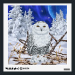 """Snowy Owl Wall Sticker<br><div class=""""desc"""">Add some color to your walls with our Vibrant snowy owl wall decals features a beautiful snowy owl in his snow covered habitat.  Artwork &#169;Bob Taylor User agreement in place between Bob Taylor and Sally Lannier/Painted Dreams Designs. No other person have permission to use this image.</div>"""