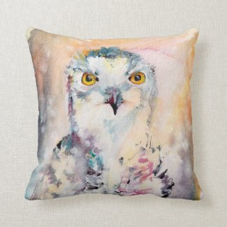 Snowy Owl Watercolor At Ginette Pillow