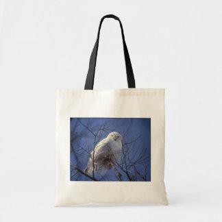 Snowy Owl - White Bird against a Sapphire Blue Sky Budget Tote Bag