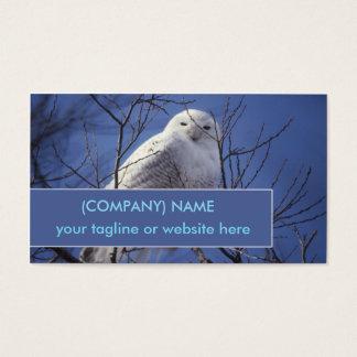 Snowy Owl, White Bird against a Sapphire Blue Sky Business Card