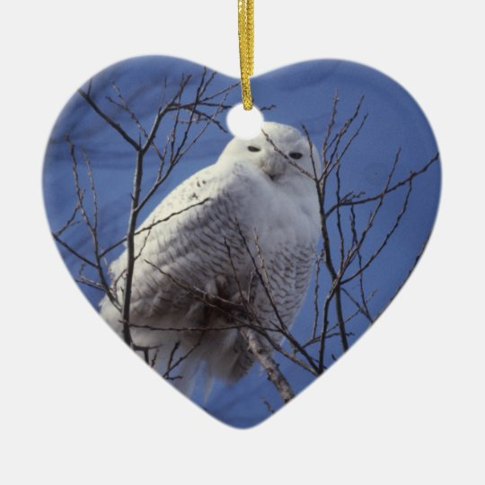 Snowy Owl - White Bird against a Sapphire Blue Sky Ceramic Ornament