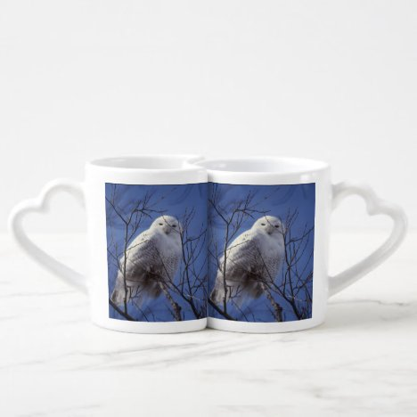 Snowy Owl, White Bird against a Sapphire Blue Sky Coffee Mug Set