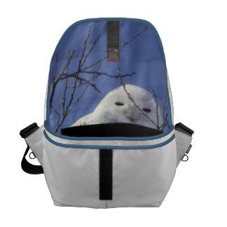 Snowy Owl - White Bird against a Sapphire Blue Sky Courier Bag
