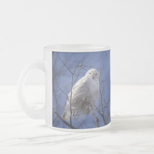 Snowy Owl - White Bird against a Sapphire Blue Sky Frosted Glass Coffee Mug