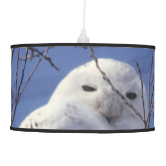 Snowy Owl, White Bird against a Sapphire Blue Sky Hanging Lamp