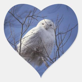 Snowy Owl - White Bird against a Sapphire Blue Sky Heart Sticker