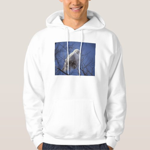 Snowy Owl - White Bird against a Sapphire Blue Sky Hoodie