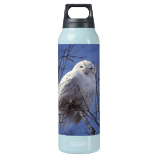 Snowy Owl - White Bird against a Sapphire Blue Sky Insulated Water Bottle