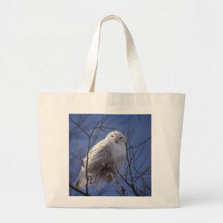 Snowy Owl - White Bird against a Sapphire Blue Sky Jumbo Tote Bag