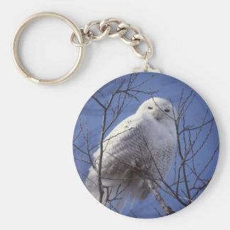 Snowy Owl - White Bird against a Sapphire Blue Sky Keychain