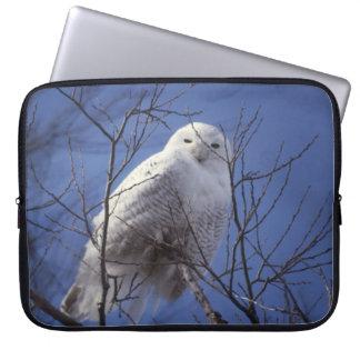 Snowy Owl - White Bird against a Sapphire Blue Sky Laptop Sleeve