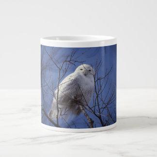 Snowy Owl - White Bird against a Sapphire Blue Sky Large Coffee Mug