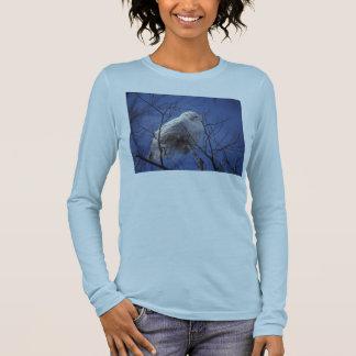 Snowy Owl - White Bird against a Sapphire Blue Sky Long Sleeve T-Shirt