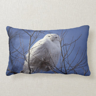 Snowy Owl - White Bird against a Sapphire Blue Sky Lumbar Pillow