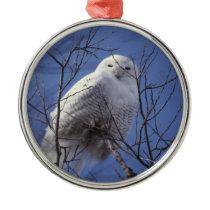 Snowy Owl - White Bird against a Sapphire Blue Sky Metal Ornament