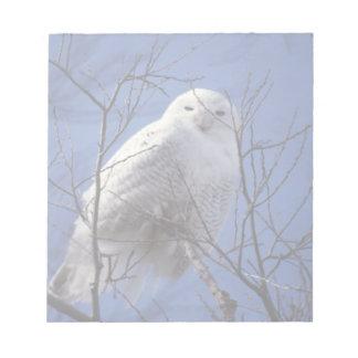 Snowy Owl - White Bird against a Sapphire Blue Sky Notepad