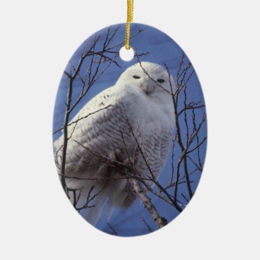 Snowy Owl - White Bird against a Sapphire Blue Sky Double-Sided Oval Ceramic Christmas Ornament