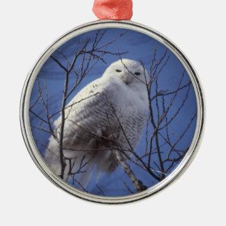 Snowy Owl - White Bird against a Sapphire Blue Sky Round Metal Christmas Ornament