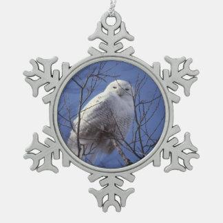 Snowy Owl, White Bird against a Sapphire Blue Sky Snowflake Pewter Christmas Ornament