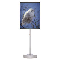 Snowy Owl, White Bird against a Sapphire Blue Sky Table Lamp