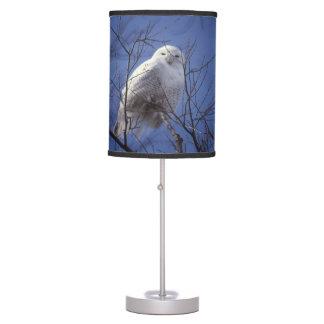 Snowy Owl, White Bird against a Sapphire Blue Sky Table Lamp