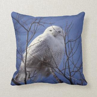 Snowy Owl, White Bird against a Sapphire Blue Sky Throw Pillow