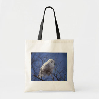 Snowy Owl - White Bird against a Sapphire Blue Sky Tote Bag