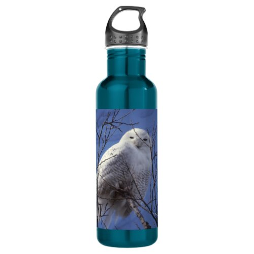 Snowy Owl - White Bird against a Sapphire Blue Sky Water Bottle
