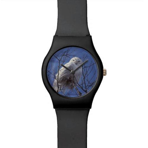 Snowy Owl, White Bird against a Sapphire Blue Sky Wrist Watch