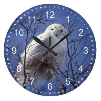 Snowy Owl - White Bird Turquoise Blue Sky Clock