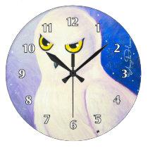 Snowy Owl White Large Clock