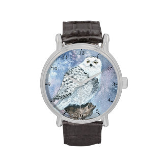 Snowy Owl Wildlife Art in Watercolor Wristwatch